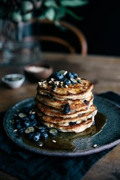 Buckwheat Blueberry & Ricotta Hotcakes with Maple & Seeds     Gather & Feast