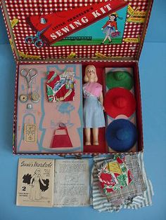 "Vintage 1940's ""Little Travelers Sewing Kit"" with Composition Doll to Dress"