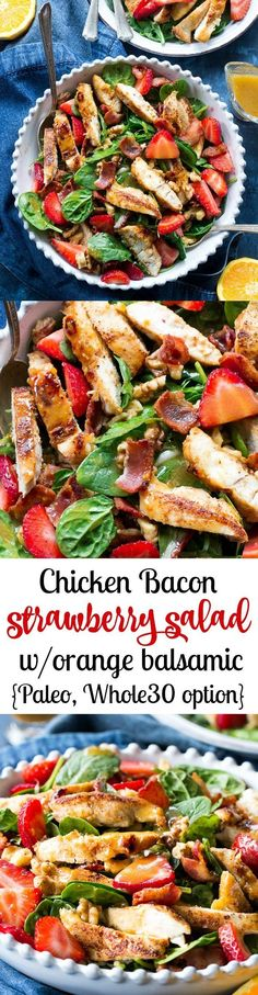 This Paleo chicken bacon and strawberry salad is full of sweet and savory flavor and crunch with fresh greens and toasted walnuts. High in protein, delicious and filling! Tossed with an orange balsamic vinaigrette with an easy option to make it Whole30 compliant. Dairy free, gluten free, paleo, refined sugar free.