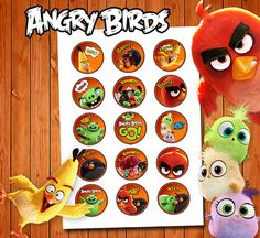 15 Angry Birds Cupcake Toppers, Birthday Toppers, Kids Decor, Sticker Digital Download
