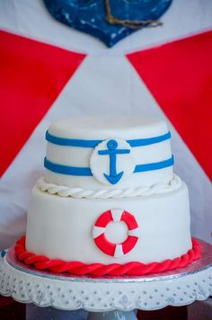 Cake at a nautical baby shower party! See more party planning ideas at CatchMyParty.com!