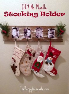 If you don't have a fireplace ch(or a mantle) you can still hang those stockings this Christmas! I absolutely love this no mantle stocking holder. DIY No Mantle Stocking Holder at The Happy Housewife Christmas Greenery, Noel Christmas, Diy Christmas Gifts, Rustic Christmas, Christmas Projects, Winter Christmas, Holiday Crafts, Diy Christmas Stockings, Diy Christmas Fireplace