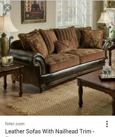 7500 Faux Leather And Fabric Sofa With Rolled Arms And Nailhead Trim    Becker Furniture World   Sofa Twin Cities, Minneapolis, St.