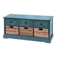 """Wood storage bench in white with three drawers and three woven baskets.Product: Storage benchConstruction Material: Wood and wickerColor: BlueFeatures: Three wicker baskets includedThree drawersDimensions: 20"""" H x 42"""" W x 15"""" D"""