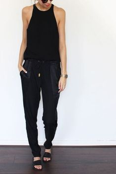 Really want some dark joggers for summer | Everlane tank top ($28); Elie Tahari sweatpants ($128)