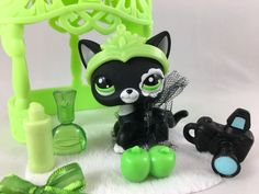 Littlest Pet Shop RARE Black & White Cat #2249 w/Arbor, Tutu & Accessories #Hasbro