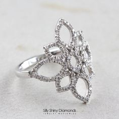 Lotus Diamond Ring Unique Engagement Ring 14K White Gold