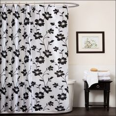 Floral Motif Black And White Shower Curtain Etsy with Curve Rod & Nice Small End Side for Towels & White Bathtub behind the Shower Curtain & Flower Picture with Wooden Framed an the Delicate Wall
