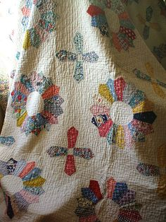 "Everything old is new again! This old quilt looks like it is made with Moda's ""new"" collection ""30's Playtime"" available now at http://www.fabricshack.com/cgi-bin/Store/store.cgi Just search for ""30's Playtime"" Repinned: wrapped in an old quilt...is comfort"