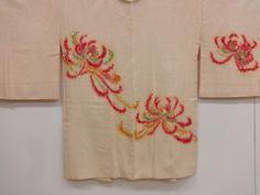Silk Haori with pattern of red spider lilies/lycoris (higanbana).