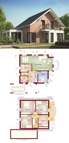 Einfamilienhaus mit Klinker-Fassade Satteldach und Carport Anbau - Haus Grundriss Evolution 143 V14 Bien Zenker Fertighaus Ideen - HausbauDirekt.de