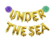 Under The Sea Balloons Banner Gold, Mylar Letter Balloon With Pom Poms For Under The Sea Party Decorations Mermaid Party Supplies photo ideas from Amazing Party Decoration Ideas Balloon Lanterns, Balloon Banner, Mermaid Party Decorations, First Birthday Decorations, Summer Birthday, Mermaid Birthday, Third Birthday, Mylar Letter Balloons, Mermaid Bridal Showers