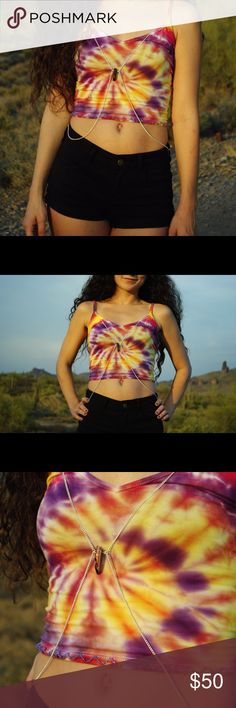 Festival rave handmade tie dye top ODESZA inspired Sun Models Tie Dye Gem top! Handmade by me. Comes complete with size small dyed crop top, silver body chain with gem attached, and purple sewn in seed bead detail. I accept custom orders identical to this, or different ☺️ NOT UNIF. My etsy is CosmicLoveDyes :) UNIF Tops Crop Tops
