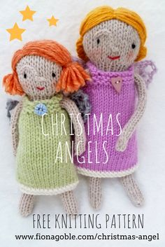 Sweet Christmas Angels Knitting Pattern available from my website for FREE!