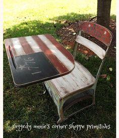 Hand Painted Primitive Americana Vintage School Desk... this is one of my favorites. <3
