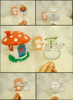 Final Totoro and Ponyo Lolli Birthday invite I made for my baby girl's 2nd birthday #Totoro #Ponyo