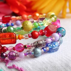 over the Rainbow' - multi-coloured glass - FREE UK P Memory Wire Bracelets, Beaded Bracelets, Mothers Day Presents, Handmade Beaded Jewelry, Over The Rainbow, Colored Glass, Rainbow Colors, Free Uk, Memories