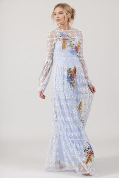 Frock and Frill Light Blue Floral Lace Maxi Dress w/Long Sleeves and Design Embroidery - Twirl Dress Boutique Frock And Frill Dresses, Maxi Dresses Uk, Summer Dresses, Party Dresses, Maxi Dress Wedding, Lace Maxi, Floral Maxi Dress, Floral Lace, Prom Dress