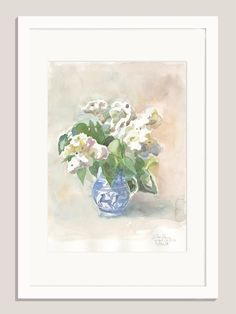 "White Lilacs - ORIGINAL watercolor and pencil drawing of lilac flowers - 11.5"" x16.5"" - Botanical watercolor by Catalina by CATILUSTRE on Etsy"