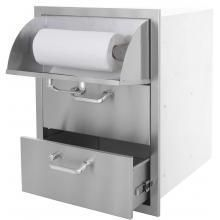 BBQGuys.com Kingston Series 20 Inch Stainless Steel Double Access Drawer With Paper Towel Dispenser