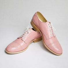 pastel pink oxford brogue shoes by goodbyefolk,