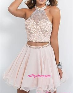 New Arrival Two Pieces Homcoming Dresses,Chiffon Homcoming Dresses For Teens,Short Prom Dresses, Mini Prom Dresses