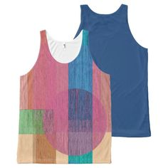 Geometric Circle Rectangle Shapes Linear Texture All-Over Print Tank Top Tank Tops