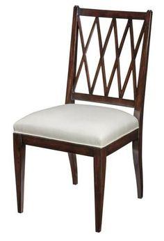 6 New Dining Chairs Mid Century Modern Ebonized Mahogany Lattice Fabric