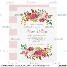 Sweet Romance EDITABLE COLOR Shower / Party Invite