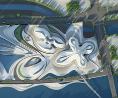 The ambitious designs created by the architectural firm, Zaha Hadid, for the Changsha Meixihu International Culture & Art Centre in China have bee. Zaha Hadid Architecture, Cultural Architecture, Landscape Architecture Design, Organic Architecture, Futuristic Architecture, Amazing Architecture, Chinese Architecture, Architecture Office, Futuristic City