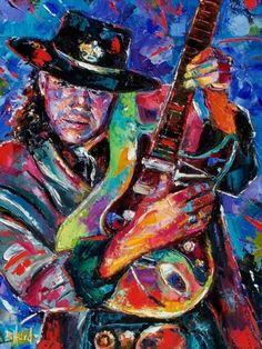 Stevie Ray Vaughan art painting guitar by Debra Hurd