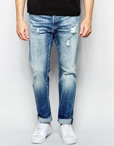 Image 1 of Replay Jeans 901 Tapered Fit Stretch Mid Vintage Distress Wash