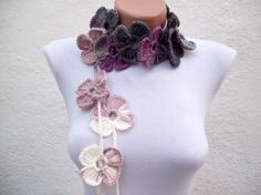 Handmade crochet Lariat Scarf Lilac Purple Grey  White by nurlu, $20.00
