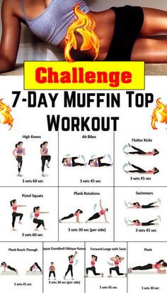 7 Day Challenge muffin top melter workout - Real Time - Diet, Exercise, Fitness, Finance You for Healthy articles ideas Yoga Fitness, Fitness Workout For Women, Fitness Workouts, Easy Workouts, Fitness Motivation, Health Fitness, Physical Fitness, Back Workout Women, Core Workouts