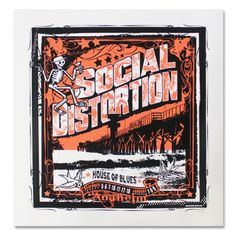 Social Distortion - House Of Blues Anaheim Screen Printed Poster Concert Flyer, Concert Posters, Rock Posters, Band Posters, Mike Ness, Social Distortion, Screen Print Poster, Rock Music, First Night