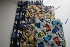 Reusable Gift Bags Doctor Who Fabric Prints Whovian Set of