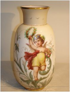 Milk glass vase with hand painted cherubs by Josef Ahne, c. 1890