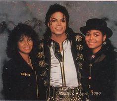 Rebbie Jackson, Michael Jackson, and  Janet Jackson from the Bad era.