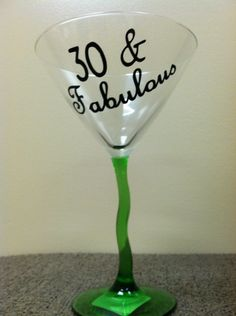 A personal favorite from my Etsy shop https://www.etsy.com/listing/182081646/birthday-martini-glass