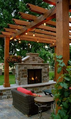 The pergola you choose will probably set the tone for your outdoor living space, so you will want to choose a pergola that matches your personal style as closely as possible. The style and design of your PerGola are based on personal Outdoor Fireplace Patio, Outdoor Stone Fireplaces, Outside Fireplace, Outdoor Fireplace Designs, Patio Ideas With Fireplace, Deck Fireplace, Diy Pergola, Pergola Ideas, Arbor Ideas