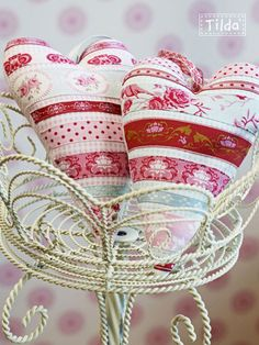 Tilda Ribbon Hearts - no pattern, but could be easy to make