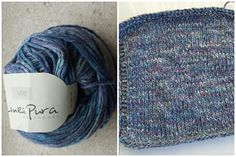 Lana Grossa Linea Pura & how it appears in a 20x20 cm knitted square