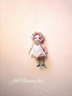 """For Susan -  Tiny 1.5"""" Victorian Rose doll - hand-sculpted - lace, antique glass eyes - Jill Dianne Dollhouse Miniature"""