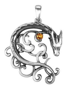 A serpentine dragon encircles a single yellow stone in this celtic style medallion. Embellished with an arrangement of swirling knots, it makes a great pendant accessory for fans of medieval imagery.