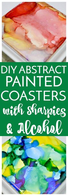 DIY Abstract Painted Coasters with Sharpies & Alcohol