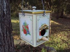 Bird house made from recycled and found objects