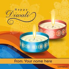 Write your name on Happy Diwali Wish profile pic Diwali Wishes With Name, Best Diwali Wishes, Diwali Greetings Quotes, Diwali Greeting Cards, Greetings Images, Happy Diwali Pictures, Happy Diwali Wishes Images, Happy Diwali Hd Wallpaper, Happy Diwali Shayari