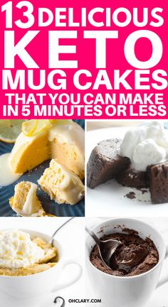 My Favorite Keto Mug Cakes. 13 Delicious Keto Mug Cake Recipes To Try Right Now. These low carb easy to make mug cakes are made with almond flour and chocolate and are microwaveable. Most of these ketogenic mug cakes have 3 ingredients or less. Recipes in Low Carb Sweets, Low Carb Desserts, Dessert Recipes, Diet Recipes, Paleo Dessert, Cupcake Recipes, Cake Mug, Keto Mug Cake, Mug Cake Rezept