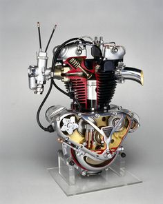 triumph motorcycle engines | Triumph 'Speed Twin' motorcycle engine, 1950.