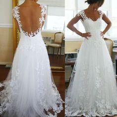 Weiß Elfenbein Spitze V-Ausschnitt rückenfrei Hochzeitskleid Brautkleider custom